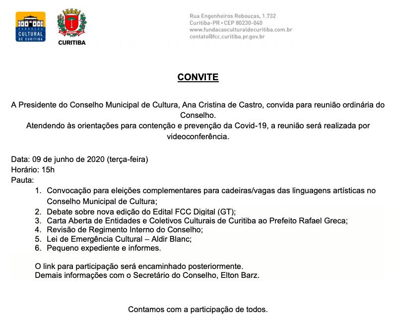 Reunião do Conselho Municipal de Cultura será transmitida pela web
